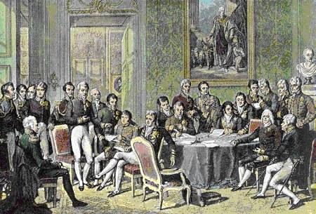 Delegierte des Wiener Kongresses in einem zeitgenössischen Kupferstich (koloriert) von Jean Godefroy nach dem Gemälde von Jean-Baptiste Isabey