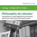 »Philosophie als Literatur« – Akademie-Forum mit Gert Scobel