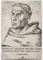 Portrait von Martin Luther als Augustinermönch, Kupferstich, Cranach, 1520