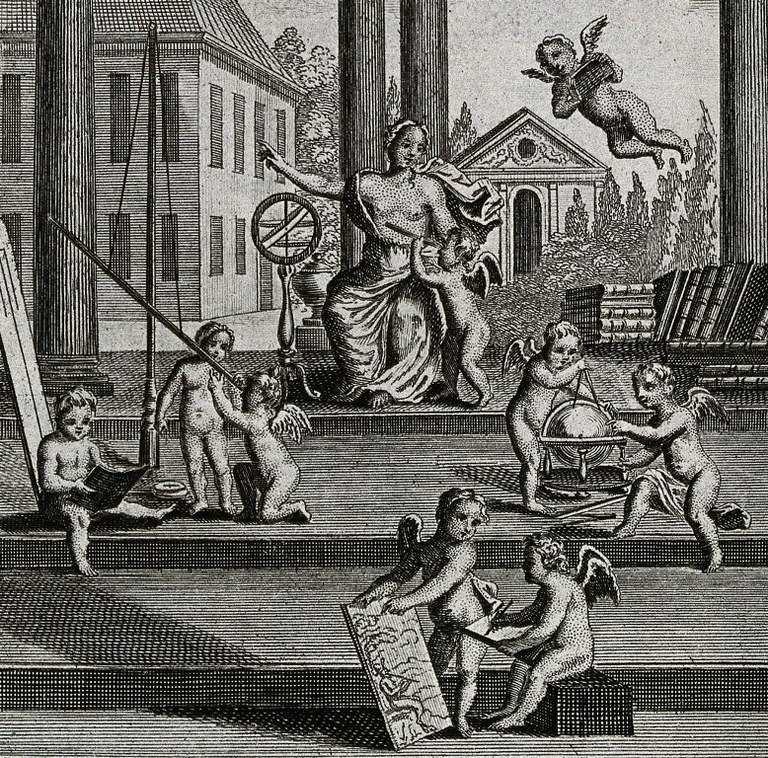 Putti undertaking various experiments in an open temple or rotunda, presided over by Scientia. Engraving, n.d., c.1750. Foto: Wellcome Library, London (CC BY 4.0)