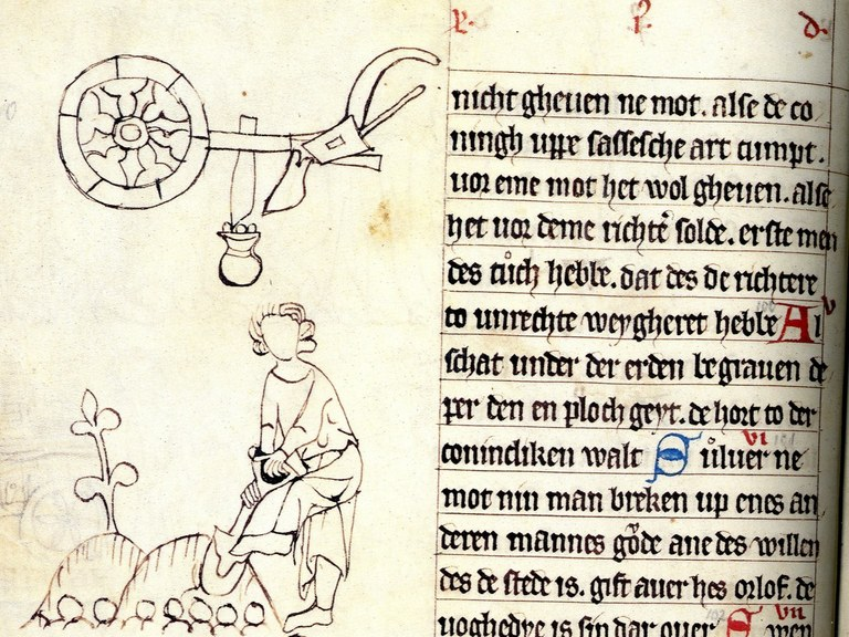 Oldenburger Bilderhandschrift des Sachsenspiegels (1336), fol. 22v (Detail), Landesbibliothek Oldenburg.