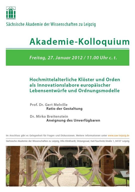 Akademie-Kolloquium 27.1.2012 – Kloester im Hochmittelalter
