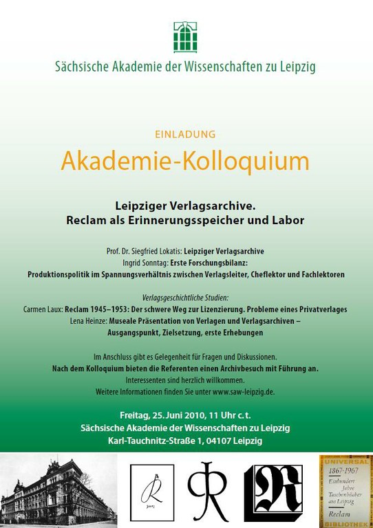 Akademie-Kolloquium Leipziger Verlagsarchive – Reclam-Verlag