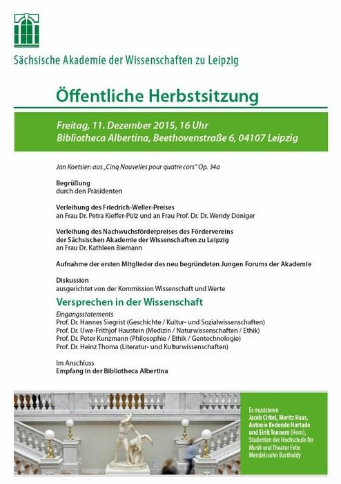 Bild Einladungsplakat Herbstsitzung 2015