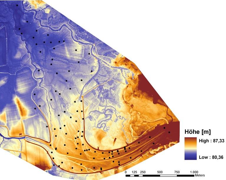 Digitales Höhenmodell vom Mündungsbereich der Weißen Elster bei Halle/Ammendorf (Lutz Zerling)
