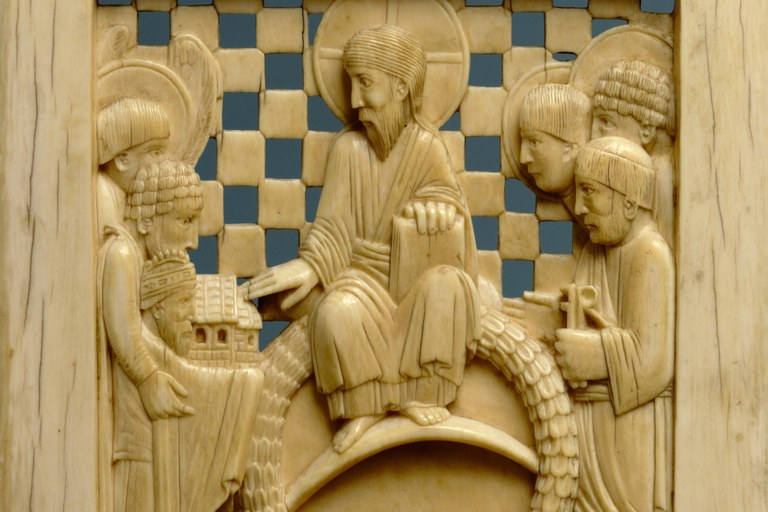 Otto, der große Kaiser, überreicht Christus die Magdeburger Kirche (Mailand, um 968. New York, The Metropolitan Museum of Art)