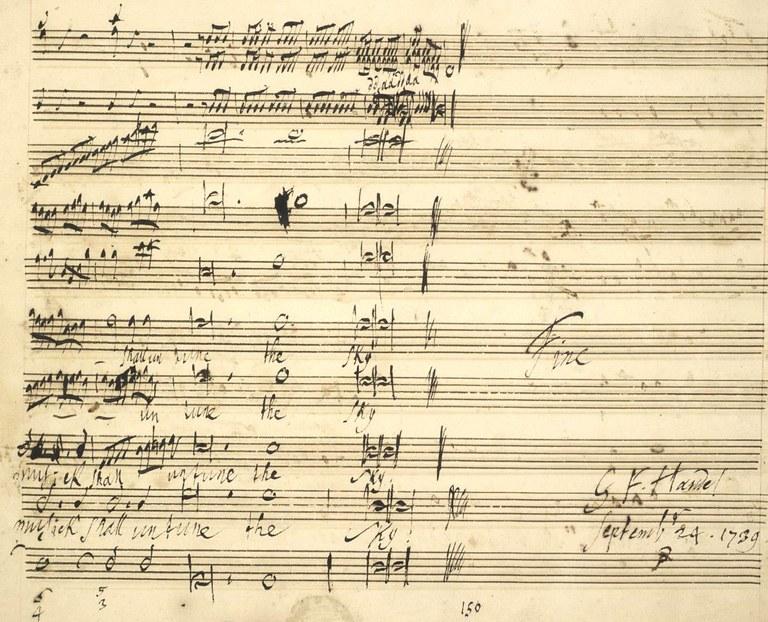 Georg Friedrich Händel, letzte Seite aus dem Autograph der Cäcilienode, HWV 76