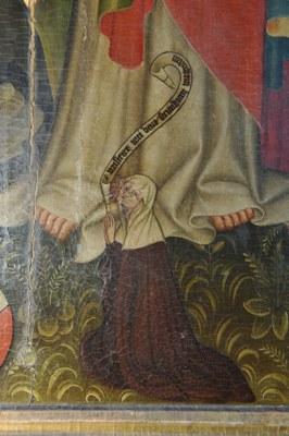 Liebfrauen, Altarretabel Barbarakapelle, Detail Stifterin