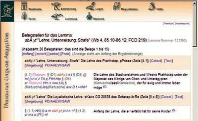 "Auszug aus der Textdatenbank mit Belegstellen zum Lemma sbA.yt: ""(Lebens)lehre"". Jedes Lemma erscheint in seinem Satzkontext, der bei Bedarf erweitert werden kann."