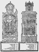 Vergleichende Darstellung der Anatomie des menschlichen Körpers und der Architektur eines mehrstöckigen Hauses