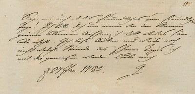 Brief Johann Wolfgang Goethes an Charlotte von Stein, Weimar, 27. Januar 1785. Klassik Stiftung Weimar, Goethe- und Schiller-Archiv