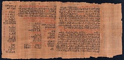 Der Anfang des Papyrus Ebers. Foto: UB Leipzig
