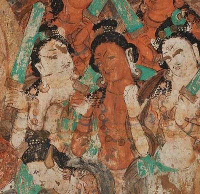 Fragment einer Buddhapredigt, Kizil Höhle 76 (Pfauenhöhle), um 500 n. Chr., Bild: Staatliche Museen zu Berlin, Museum für Asiatische Kunst