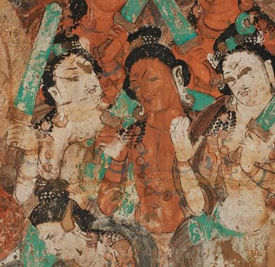 Mural fragment of a Buddha sermon scene, Kizil Cave 76 (Peacocks Cave), around 500 CE, Image: State Museums of Berlin, Asian Art Museum