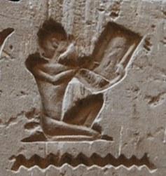"""Hieroglyphe des Mannes, der eine Buchrolle liest. Quelle: """"Science in Ancient Egypt"""""""